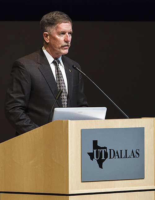 Former astronaut Dr. James Reilly BS'77, MS'87, PhD'95 introduced Jemison.