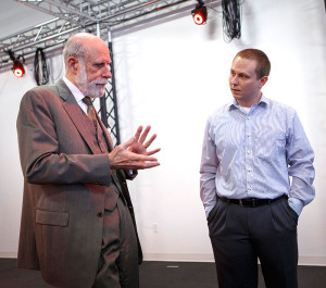 Dr. Ryan McMahan (right), assistant professor of computer science, with Vinton Cerf, vice president and chief Internet evangelist at Google, said he could not conduct his immersive virtual reality research on campus until the ATEC building opened.